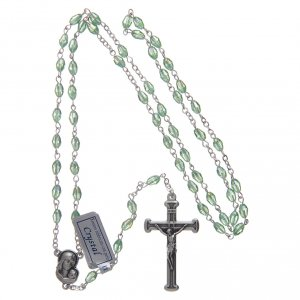 Rosary in green crystal with cross and center piece in oxidised metal s4