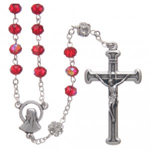 Rosary in metal with ruby crystal grains s1