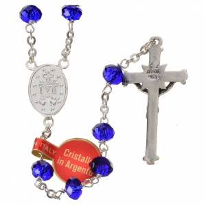 Rosary in opaque crystal and 800 silver, 6mm blue s2
