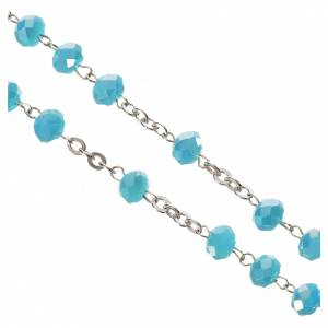 Rosary in opaque crystal and 800 silver, 6mm light blue s4