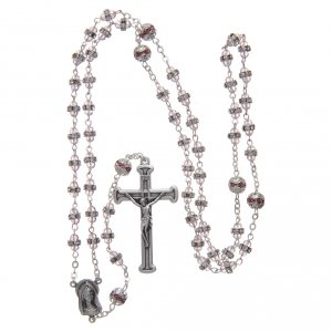 Rosary in oxidised metal pink pearl with strass s4