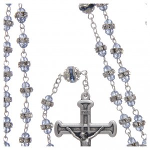 Rosary in oxidised metal sapphire pearl with strass s4