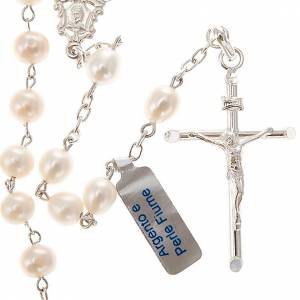 Silver rosaries: Rosary in silver 800 with freshwater pearls