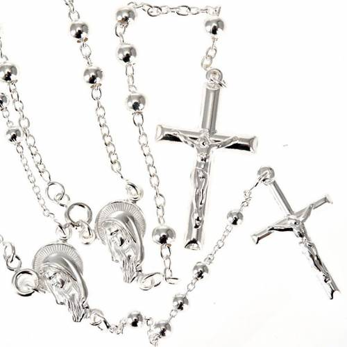 Rosary necklace in sterling silver 4-5mm s1