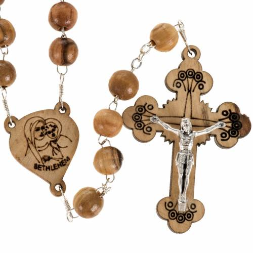 Rosary with threefoiled crucifix in Palestinian olive wood 8 mm s1