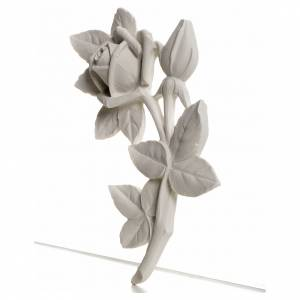 Rose bas-relief decoration in reconstituted marble, 11 cm s2