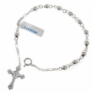 Silber Armbänder: Rosenkranz-Armband Silber gestreifte Perlen