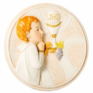 Bonbonnière: Round painting Boy First Communion 7cm