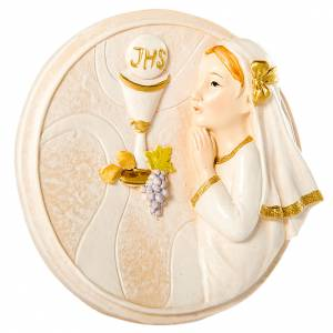 Round painting Girl First Communion 10cm s1