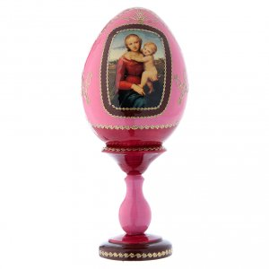 Russian Egg Small Cowper Madonna, Fabergé style, red 20 cm s1