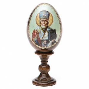 Russian Egg St. Nicholas green background découpage 13cm s1