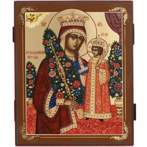 Russian hand-painted icon, Immortal Flower s1