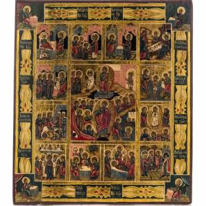 Russian icon, Twelve Great Feasts, hand painted s1