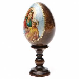 Handgemalte Russische Eier: Russiche Ei-Ikone Gottesmutter Kozelshanskaya 13cm Decoupage