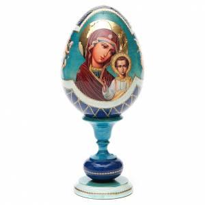 Handgemalte Russische Eier: Russiche Ei-Ikone Gottesmutter von Kazan Decoupage 20cm hellblau
