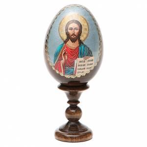 Handgemalte Russische Eier: Russische Ei-Ikone Christus Pantokrator 13cm Decoupage