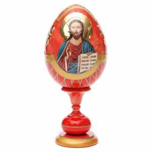 Handgemalte Russische Eier: Russische Ei-Ikone Christus Pantokrator 20cm Decoupage rot