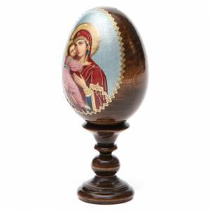 Handgemalte Russische Eier: Russische Ei-Ikone Gottesmutter von Wladimir 13cm Decoupage
