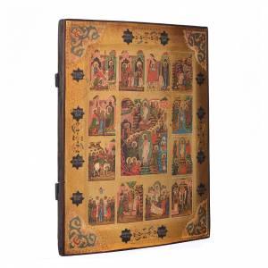 Russische Ikonen auf alter Tafel: Russische Ikone 12 Feier des Jahr 19. Jh.