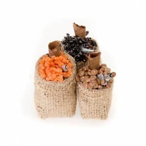 Saco de yute con comidas surtidas en  terracota para el belén s1