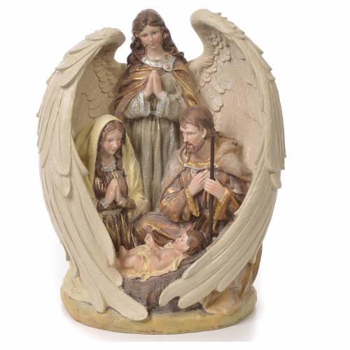 Sacra Famiglia con Angelo 31 cm resina fin. Multigold s1