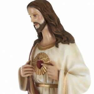 Sacré Coeur de Jésus marbre 80cm peint s4