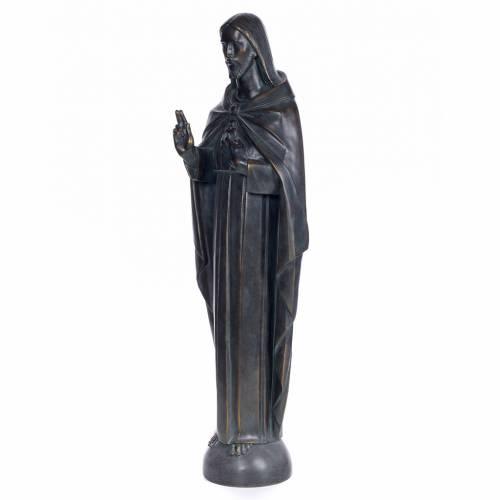 Sacred Heart of Jesus, 100cm in wood paste, bronzed decoration s2