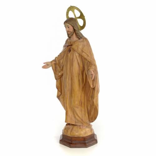 Sacro Cuore di Gesù 50 cm pasta di legno dec. Brunita s2