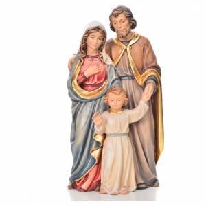 Belén Val Gardena: Sagrada familia de pie madera pintada Val Gardena