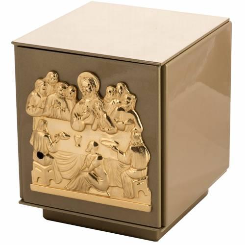 Sagrario de mesa Última Cena bronce dorado caja hierro s1
