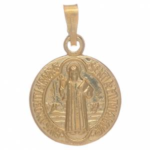 Pendants, crosses and pins: Saint Benedict medal in gold plated sterling silver