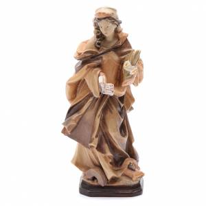 Natural wood statues and figures: Saint Christina with letter flower and book statue in natural wood