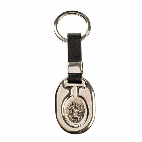 Saint Christopher keychain in silver zamak and fake leather s1