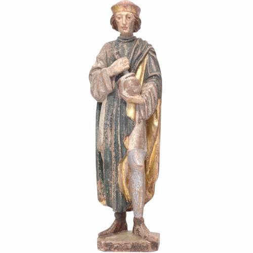 Saint Damien with mortar 25cm in Valgardena wood, old antique go s1