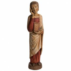 Saint John at Calvary statue in painted Bethléem wood, antique s1