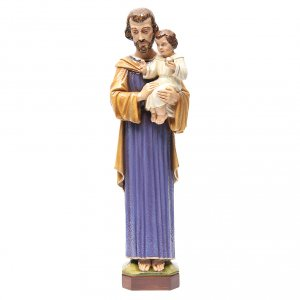 Reconstituted marble religious statues: Saint Joseph 65 cm in painted marble