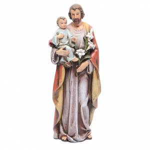 Hand painted wooden statues: Saint Joseph and baby figure in painted wood pulp 15cm