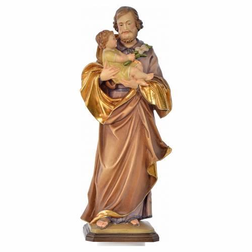 Saint Joseph with baby by Guido Reni in Valgardena wood s1