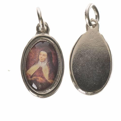 Saint Teresa of Avila medal in silver metal, 1.5cm s1
