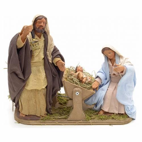 Sainte Famille animée crèche napolitaine 14 cm s1