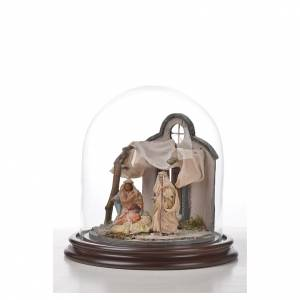 Sainte Famille terre cuite style arable 20x20cm cloche verre s5