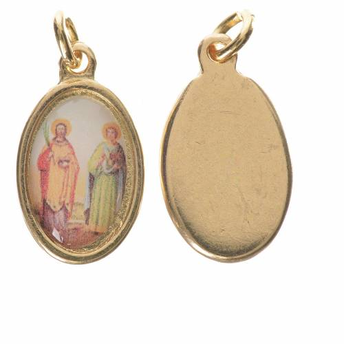 Saints Cosmas and Damian medal in golden metal, 1.5cm s1