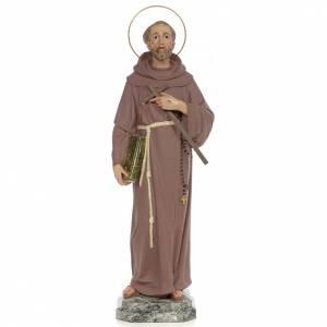 Statue in legno dipinto: San Francesco d'Assisi 50 cm pasta di legno dec. fine