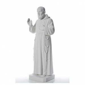 San Padre Pio 110 cm polvere di marmo bianco s2