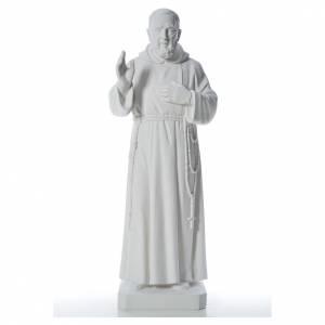 San Padre Pio 110 cm polvere di marmo bianco s1
