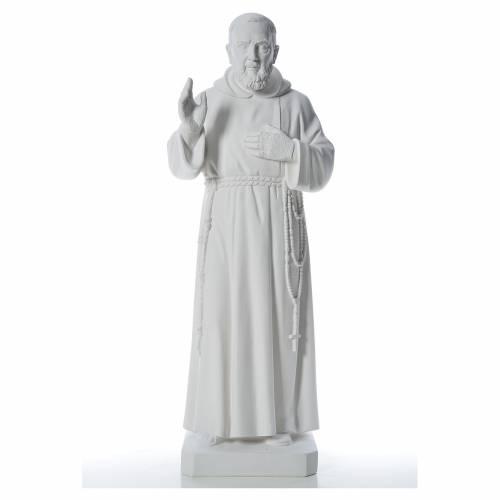 San Padre Pio 110cm polvo de mármol blanco s1