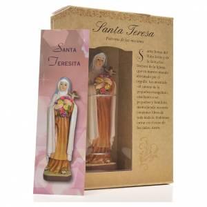 Santa Teresina 12 cm con immaginetta PREGHIERA SPAGNOLO s3
