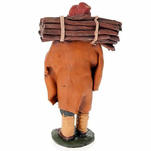 Santon crèche de Noël homme avec bois terre cuite s2