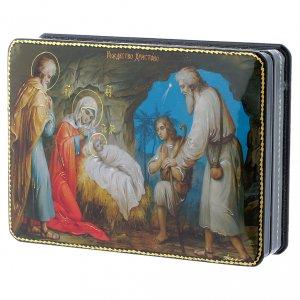 Scatola russa cartapesta Gesù, la nascita Fedoskino style 15x11 s2