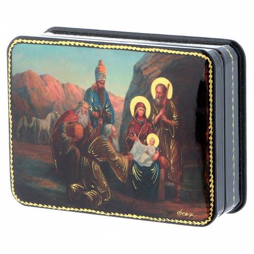 Scatola russa cartapesta Nascita Cristo Adorazione Magi Fedoskino style 11x8 s2